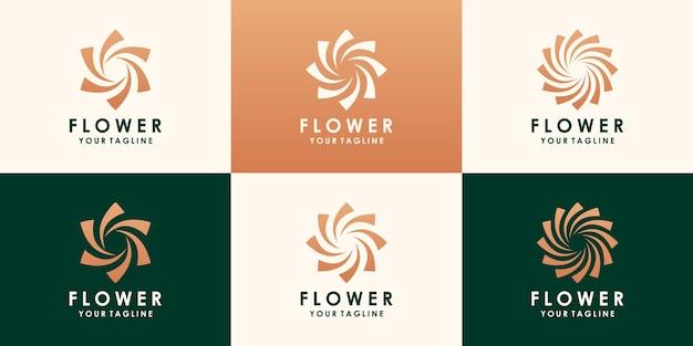 Fiore di loto dorato logo design. logo floreale foglia universale lineare