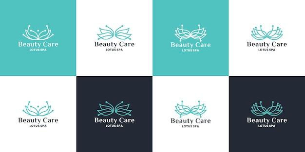 Design del logo del fiore di loto, modello per la cura della bellezza per spa, salone, yoga e cosmetici
