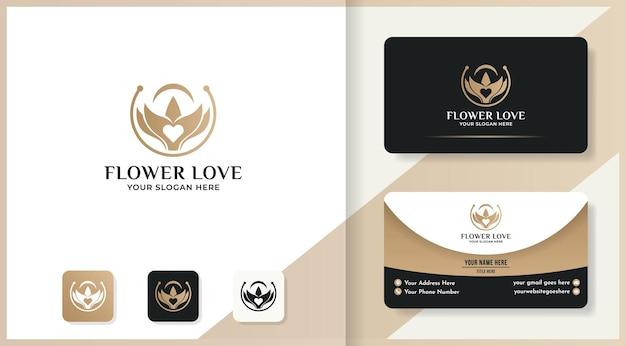 Design del logo e biglietto da visita dell'amore del fiore