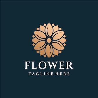 Fiore di lusso in oro logo design ispirazione.