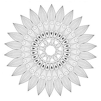 Motivo di ottomano mandala di fiori rotondo contorno