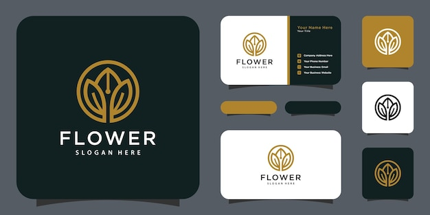 Logo di lusso a linea mono fiore con design biglietto da visita