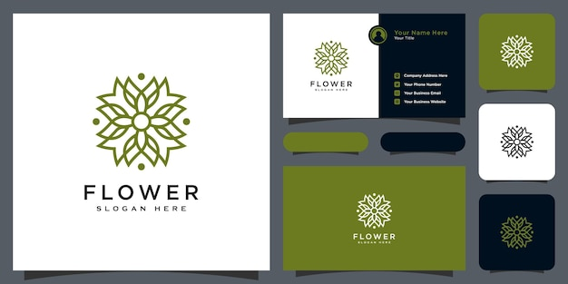 Logo di lusso a linea mono floreale con design di biglietti da visita