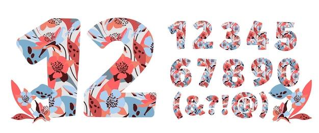 Numeri di fiori impostati da zero a nove