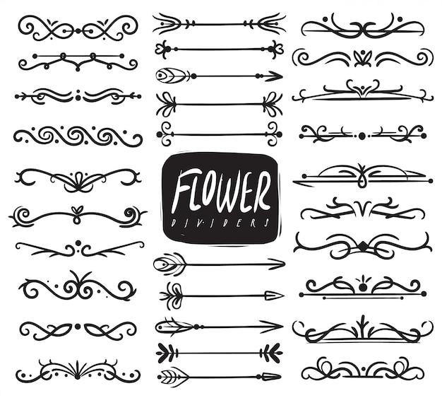 Divisori di ornamento floreale. divisore ornamentale e ornamenti di foglie di schizzo, frecce decorative, bordi di vite disegnati. collezione
