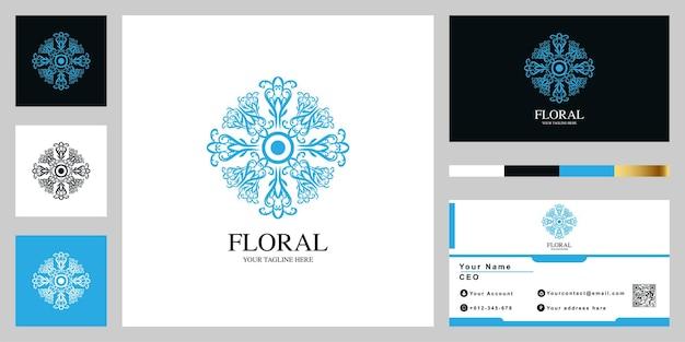 Disegno del modello logo lusso fiore o ornamento con biglietto da visita.
