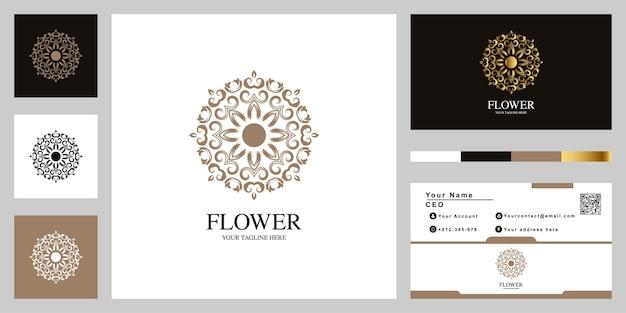 Disegno del modello di lusso logo fiore o ornamento con biglietto da visita.