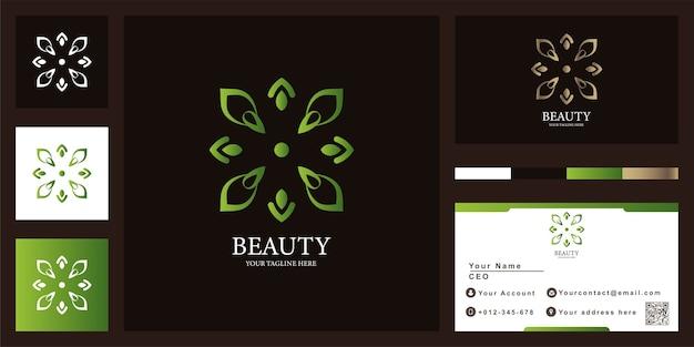 Disegno del modello di logo di lusso fiore o ornamento con biglietto da visita.
