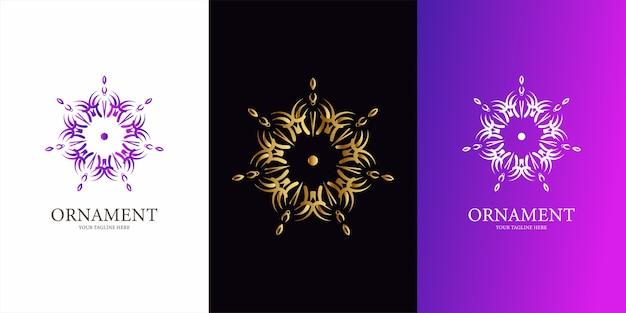 Disegno del modello di logo fiore, ornamento o mandala. ent logo design del modello.