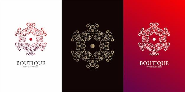 Disegno del modello di logo fiore, ornamento o mandala.