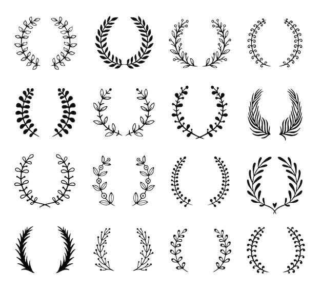 Ghirlanda di ornamenti floreali. ghirlande di rami di ulivo, cornice foglia greca e foglie di alloro nobiltà set emblema logo festival di araldica