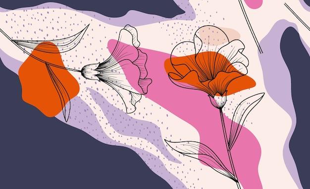 Modello di fiore disegnato a mano.