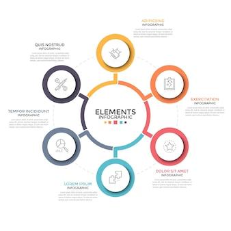 Schema rotondo di petali di fiori. sei elementi circolari con icone a linee sottili all'interno posizionate attorno a quella principale. concetto di 6 caratteristiche del progetto imprenditoriale. modello di progettazione infografica.