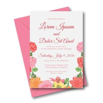 Vettore di invito matrimonio rosa fiore