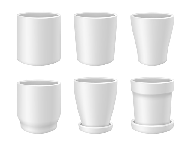 Set di vasi di fiori. illustrazione realistica di vasi da fiori vuoti bianchi isolati su priorità bassa bianca.