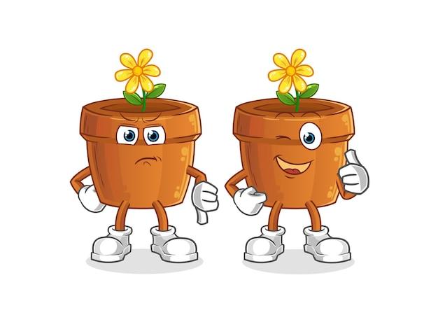 Il vaso di fiori mostra il pollice in alto e il pollice in basso. mascotte mascotte dei cartoni animati