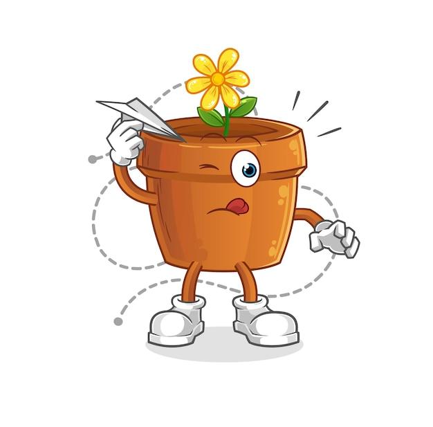 Il vaso di fiori con carattere aeroplano di carta. mascotte dei cartoni animati