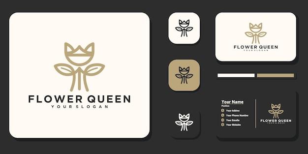 Logo della regina dei fiori, logo cosmetico, yoga, salone di bellezza e altro, logo di riferimento per le imprese
