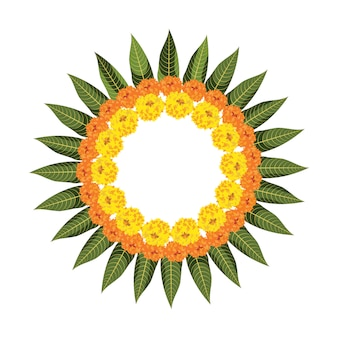Rangoli di fiori realizzati con fiori di calendula o zendu o genda e foglie di mango