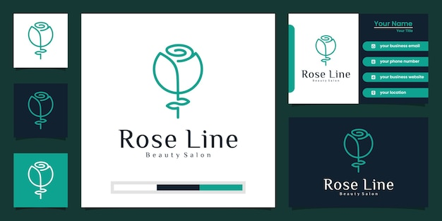 Fiore rosa logo design di lusso e biglietto da visita
