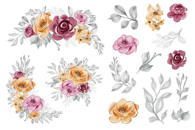 Fiore rosa rosa arancione disposizione e acquerello