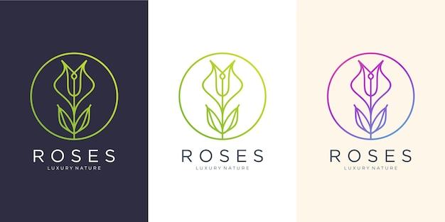 Fiore rose line art style.luxury circle, salone di bellezza, moda, cura della pelle, cosmetici, prodotti naturali e spa.modello di progettazione del logo.