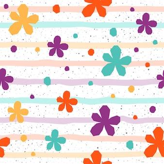Fondo senza cuciture del fiore. fiore astratto infantile viola, verde, giallo, arancione per t-shirt di design, biglietti, inviti, poster, brochure, album, album di ritagli, menu, ecc.