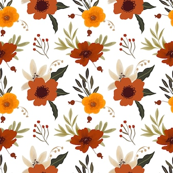 Reticolo senza giunte del fiore con giglio bianco e anemone marrone rosso