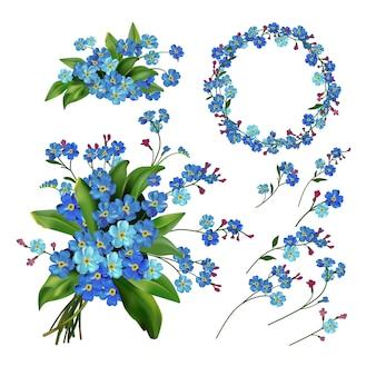 Illustrazione vettoriale di fiore set