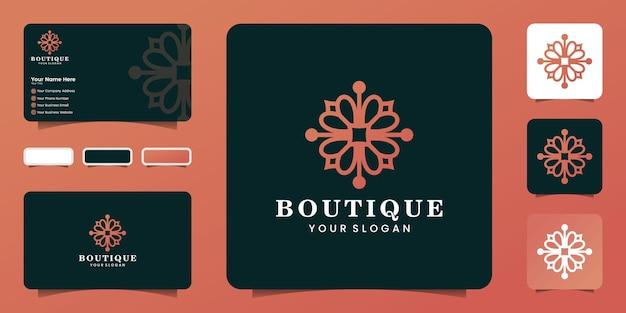 Logo boutique di bellezza femminile a forma di fiore con stile line art e ispirazione per biglietti da visita