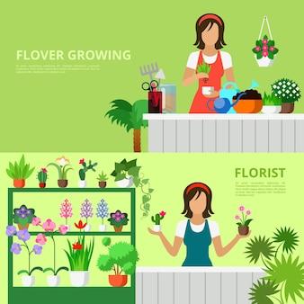 Insieme di stile piano di vettore dell'illustrazione del negozio di fiori
