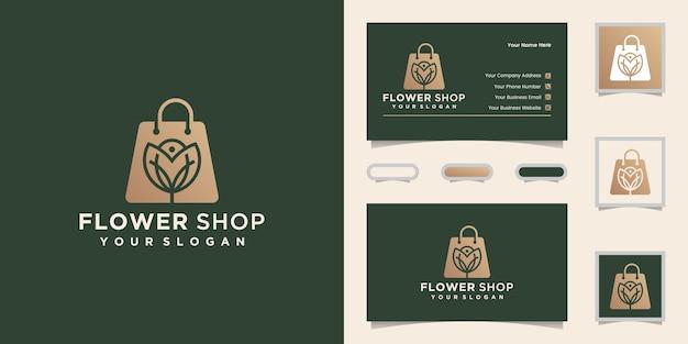 Logo del negozio di fiori e biglietto da visita