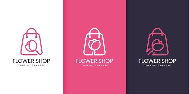 Modello di logo del negozio di fiori con stile di arte di linea