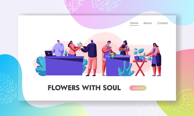 Flower shop stuff cura delle piante in vaso, realizzazione di composizioni di design e mazzi di fiori per il cliente. professione di fiorista, pagina di destinazione del sito web di lavoro. illustrazione di vettore piatto del fumetto