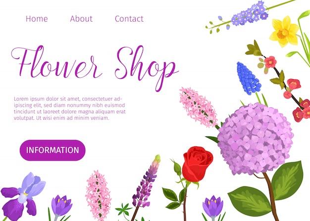 Modello web del fumetto di vettore del negozio di fiore. sito web del negozio di fiori con giardino