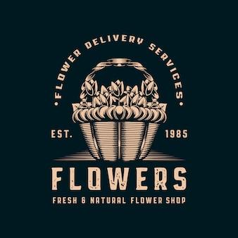 Negozio di fiori vintage logo design