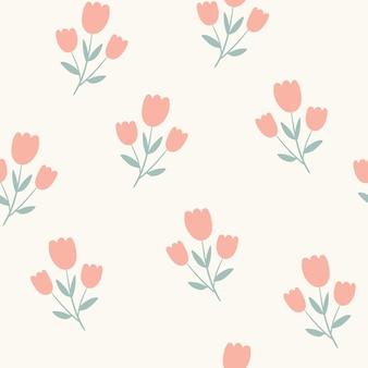 Modello senza cuciture semplice fiore sfondo con fiori di rosa carini