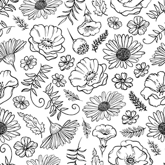 Flower sketch monocromatico camomilla papavero con erba e germoglio cartoon seamless pattern