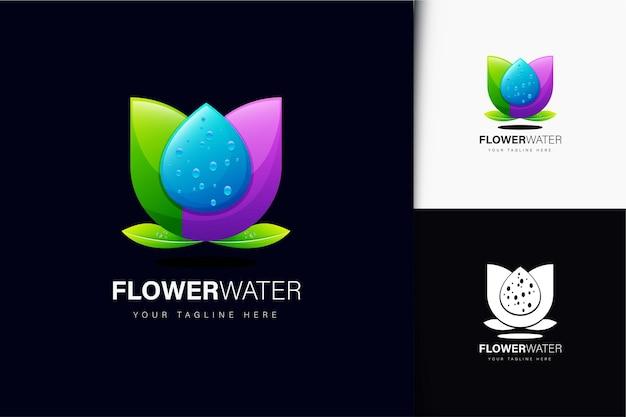 Design del logo dell'acqua di fiori con sfumatura