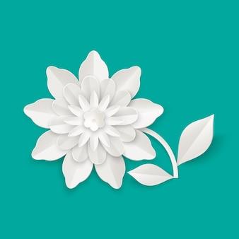 Fiore con foglie di foglio di carta isolato illustrazione