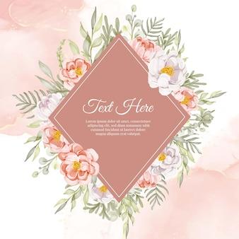 Cornice ghirlanda di fiori di peonie floreali pesca e bianco