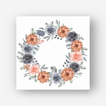 Cornice ghirlanda di fiori con fiori ad acquerello blu navy e pesca