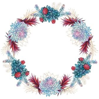 Corona di fiori di cornice festosa succulente