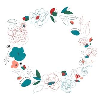 Corona di fiori su sfondo bianco. disegno al tratto. cornice botanica.