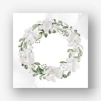 Corona di fiori con illustrazione ad acquerello di fiori bianchi di gardenia