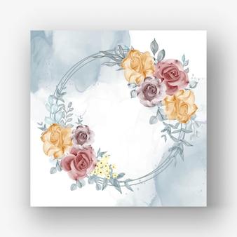 Corona di fiori con illustrazione dell'acquerello di autunno del fiore di rosa Vettore Premium