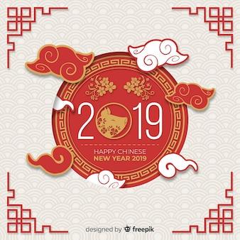 Anno cinese bakcground del maiale fiorito