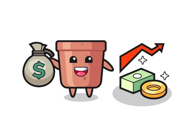 Fumetto dell'illustrazione del vaso di fiori che tiene il sacco dei soldi, disegno di stile carino per maglietta, adesivo, elemento logo