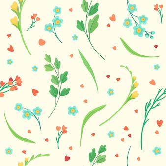 Modello senza cuciture dei fiori e delle foglie dei fiori