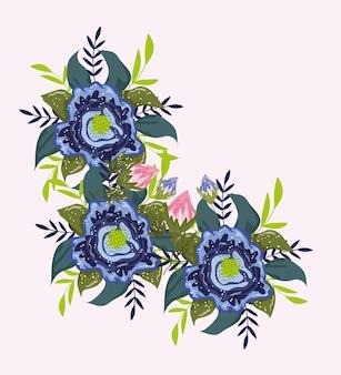 Il bouquet di fiori sboccia lascia la natura botanica illustrazione pittura